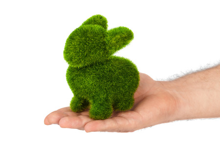 white rabbit: Rabbit made of grass in hand isolated on white background Stock Photo