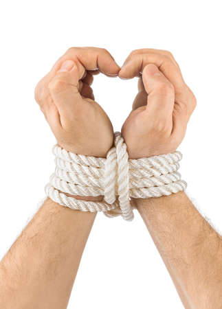 Bound hands and heart isolated on white  Stock Photo