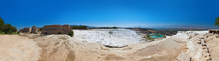 pamuk: Travertine pools and terraces - Pamukkale Turkey panorama  Stock Photo