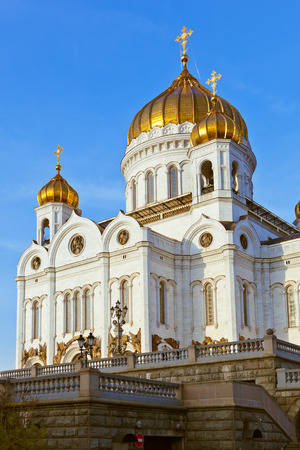 gold cross: Cathedral of Christ the Savior in Moscow (Russia) at autumn