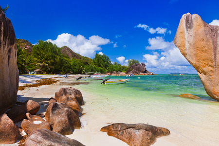 shallop: Tropical island at Seychelles - nature background Stock Photo