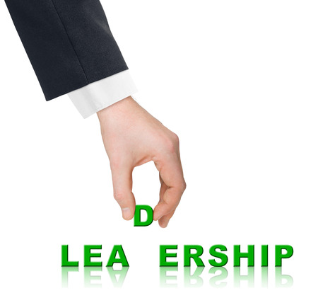 liderazgo: Mano y palabra liderazgo - concepto de negocio, aislados en fondo blanco