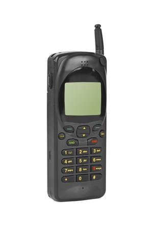 hablando por celular: Teléfono móvil retro aislado sobre fondo blanco Foto de archivo