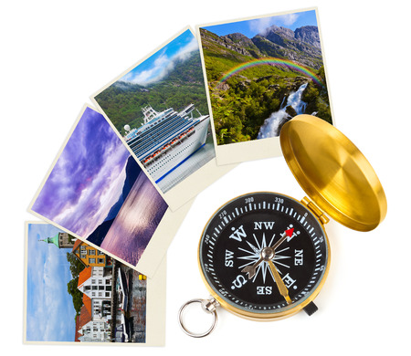 concept images: Norway travel images and compass - nature and architecture concept (my photos)