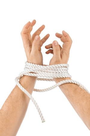 prison break: Bound hands isolated on white background