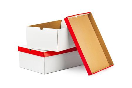Opened boxes isolated on white background photo