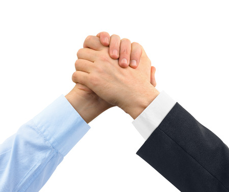 arm: Two greeting hands isolated on white background Stock Photo