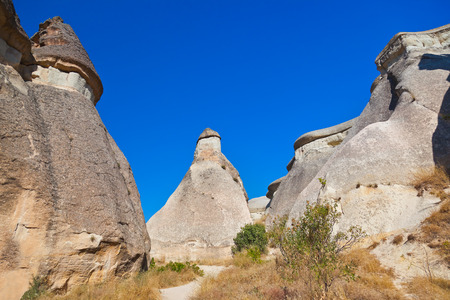 phallic: Rock formations in Cappadocia Turkey - nature background Stock Photo