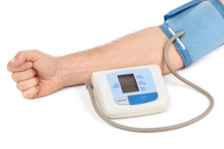Measuring blood pressure isolated on white background photo
