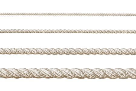 Set of ropes isolated on white background photo