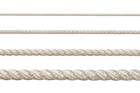 tied knot: Set of ropes isolated on white background Stock Photo