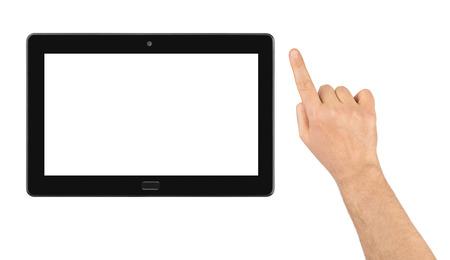 dedo: La mano y el PC del touchpad aislada en el fondo blanco