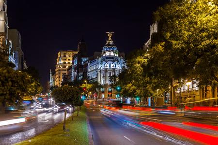 madrid  spain: Streets of Madrid Spain at night Stock Photo