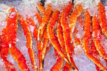 Fresh seafood in fish market - food background photo