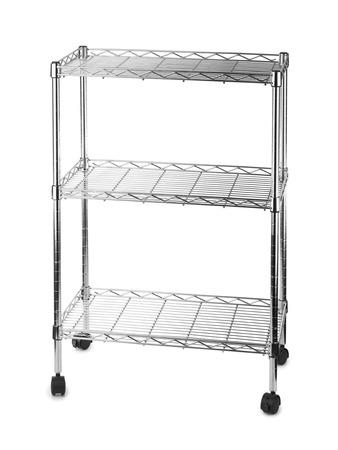 rack wheel: Metal shelves rack isolated on white background