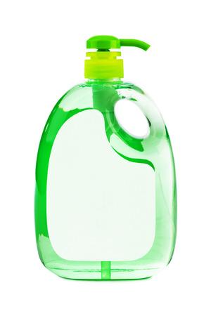 Green plastic bottle isolated on white background photo