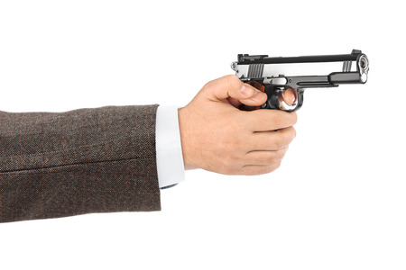 colt: Hand with pistol isolated on white background