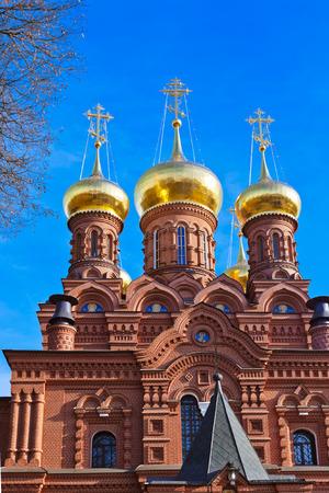 gold cross: The Chernigovsky skete in Sergiev Posad - Russia