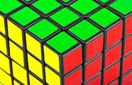 unsolved: Cube puzzle - abstract multicolor background Stock Photo
