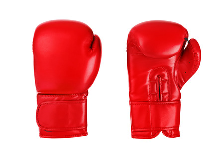 boxing knockout: Boxing gloves isolated on white background