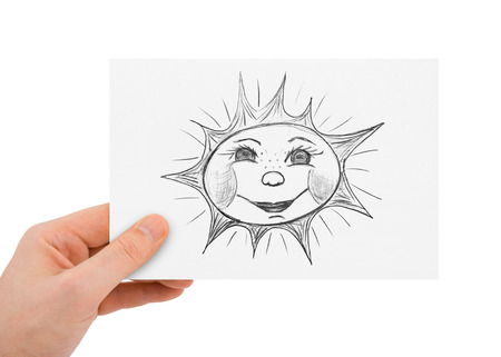Hand with drawing sun isolated on white background photo