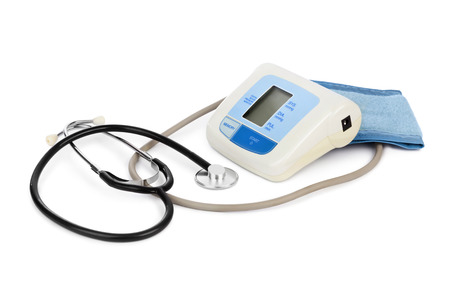 Apparatus for measuring blood pressure isolated on white background photo