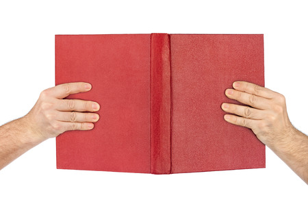 publishes: Opened book in hands isolated on white background