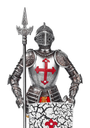 cavaliere medievale: Toy cavaliere medievale isolato su sfondo bianco Archivio Fotografico