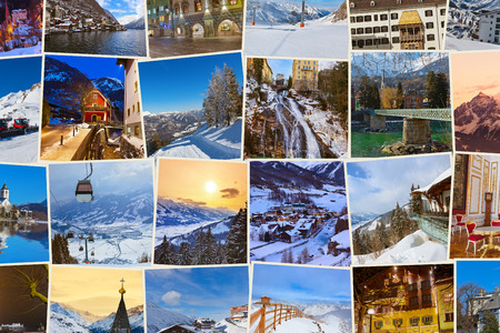 christmas village: Stack of mountains ski Austria images - nature and sport background (my photos) Stock Photo