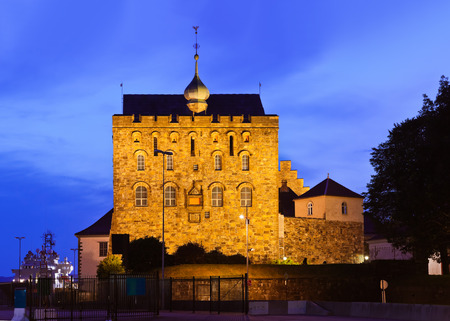 prison yard: Old fortress in Bergen Norway - architecture background