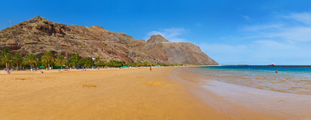 palapa: Beach Teresitas in Tenerife  Canary Islands Spain Stock Photo