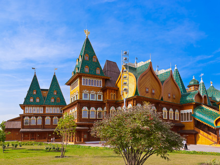 Wooden palace of Tsar Alexey Mikhailovich in park Kolomenskoe  Moscow Russia