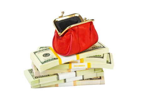 Red purse and money isolated on white background photo