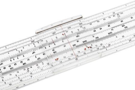 logarithmic: Logarithm ruler isolated on white background