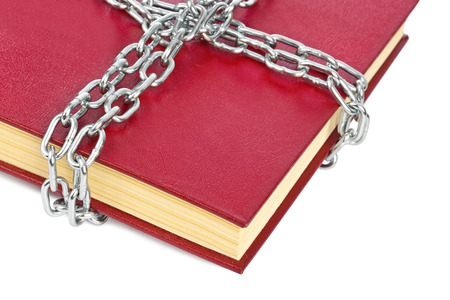 censure: Book and chain isolated on white background
