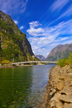 sognefjord: Fjord Sognefjord in Norway - nature and travel background Stock Photo