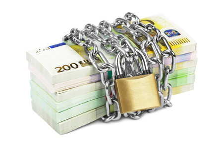 Money and chain isolated on white background photo