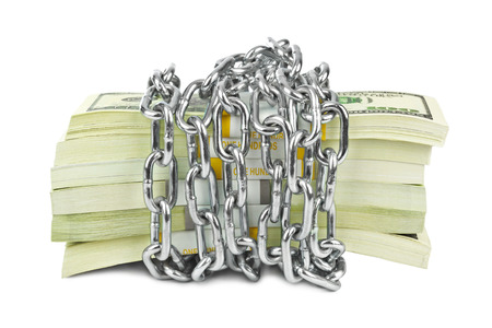 Money and chain isolated on white background