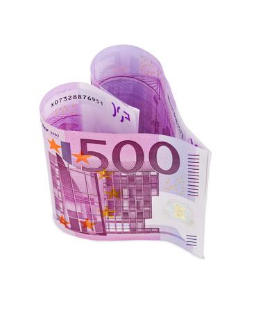 dinero euros: Dinero corazón aislado en el fondo blanco