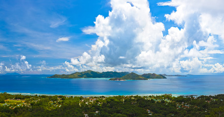 vue: Panorama of island Praslin at Seychelles - nature background Stock Photo