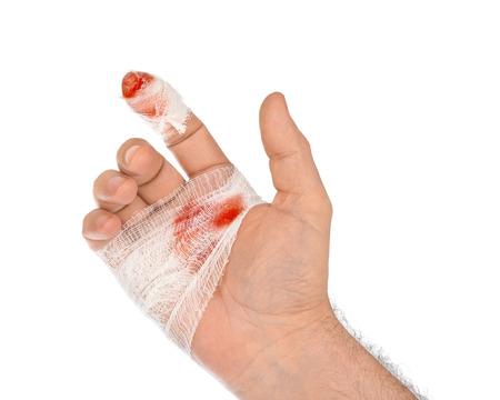 bandage wound: Hand with blood and bandage isolated on white background Stock Photo