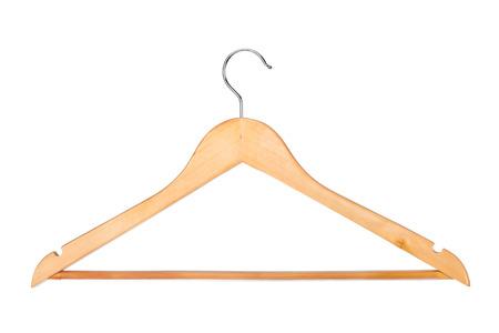 hangup: Wood hanger isolated on white background