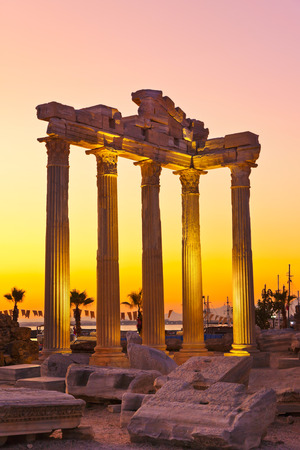 archaeology: Old ruins in Side, Turkey at sunset - archeology background Stock Photo