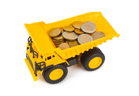 truckload: Toy car truck with money coins isolated on white background