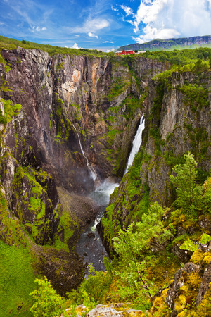 hardanger: Waterfall Voringfossen in Hardanger Norway - nature and travel background