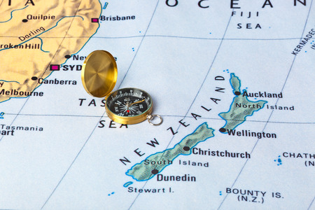 new zeland: New Zeland map and compass - travel background