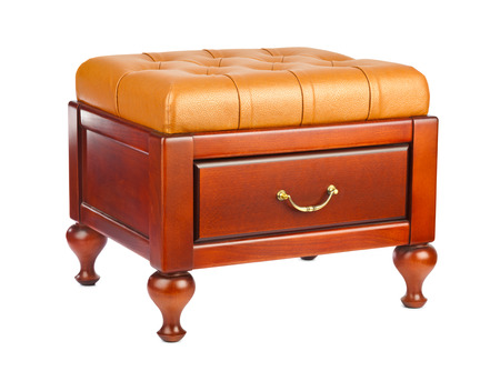 footstool: Luxury leather pouf isolated on white background