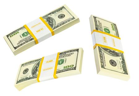 money packs: Money packs set isolated on white background Stock Photo