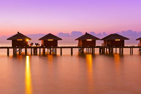 maldives island: Water bungalows on Maldives island - nature travel background