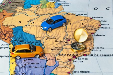 brazil map: Brazil map and compass - travel background Stock Photo